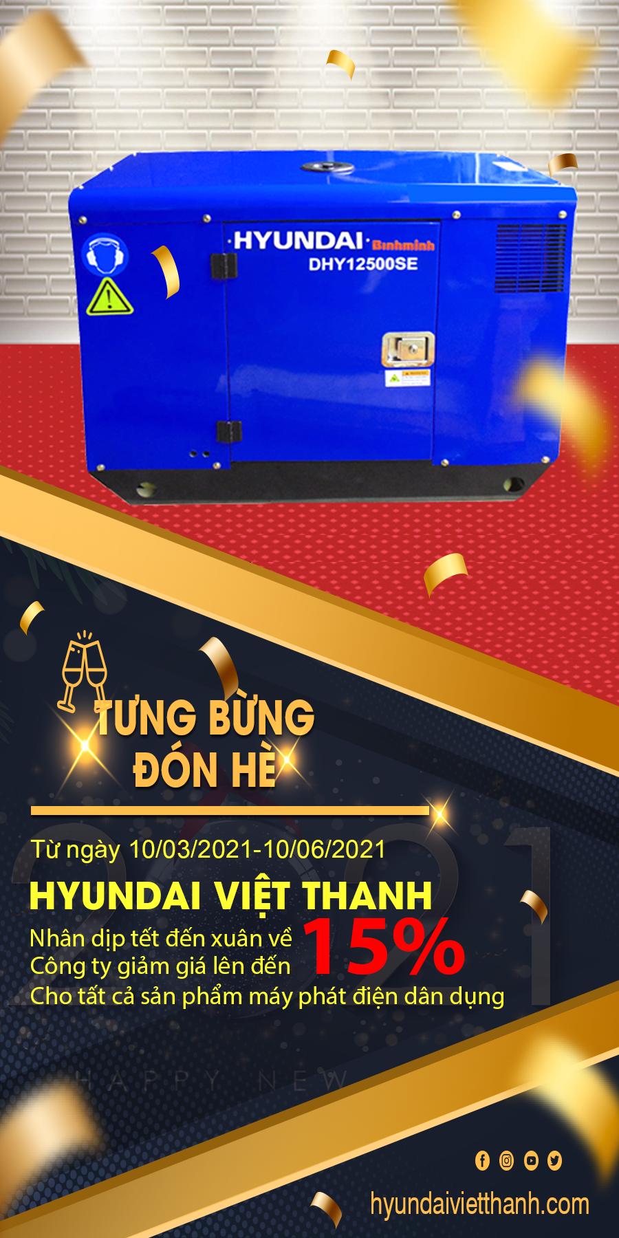 poster khuyến mại máy phát điện Hyundai gia đình